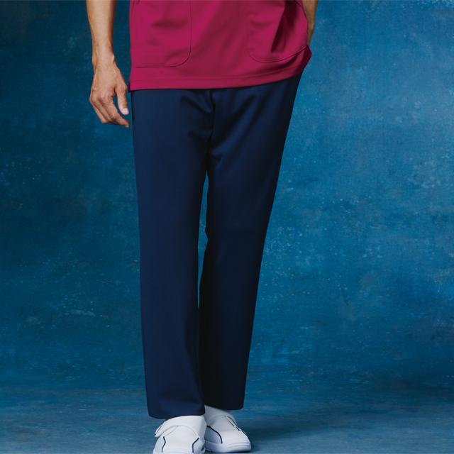 857 KAZEN カゼン メンズ スラックス パンツ ズボン 大きいサイズ 脇ゴム 白衣