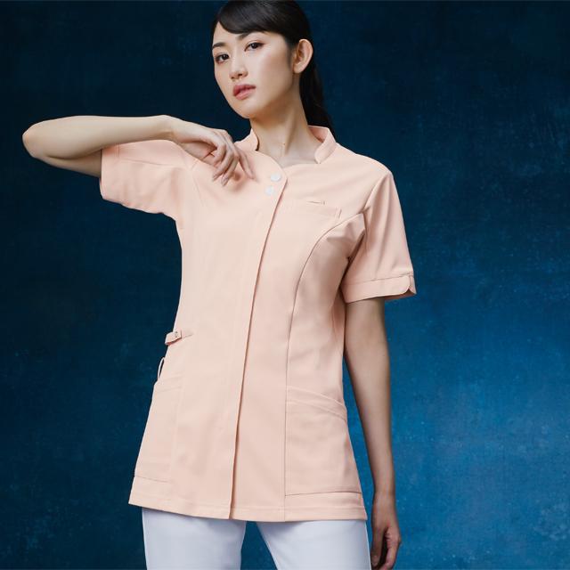 993 カゼン ナースウェア レディス ジャケット 半袖 女性用 医療用 看護師用 ナース ホワイト 白 ピンク ベージュ 紺 ネイビー 4L 大きいサイズ 白衣 KAZEN