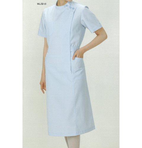<お買い得>ML232看護衣スタンドカラー横掛けファスナー型(半袖)
