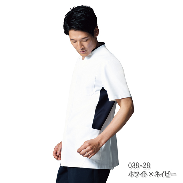 038 KAZENカゼン メンズスクラブ 白衣 半袖 医療用