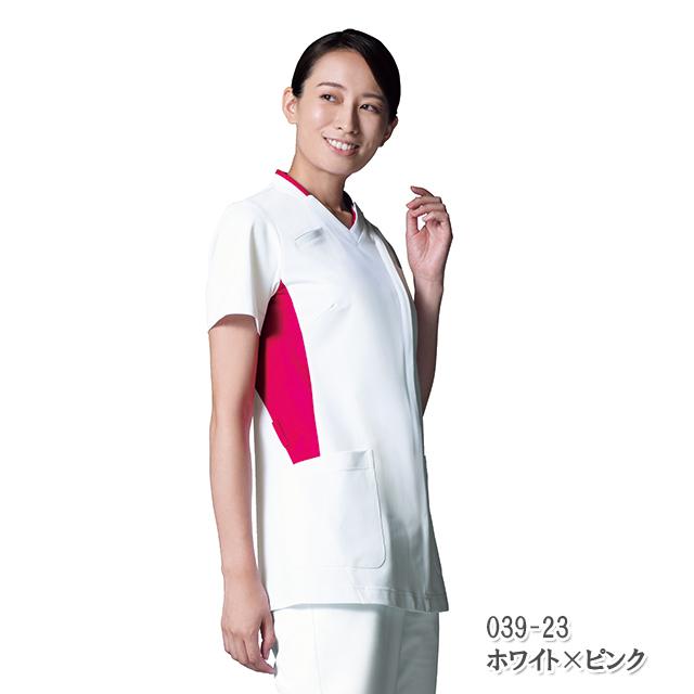 039 KAZENカゼン レディス スクラブ 医療 白衣 半袖 看護師 ホワイト ブルー グリーン ピンク ネイビー