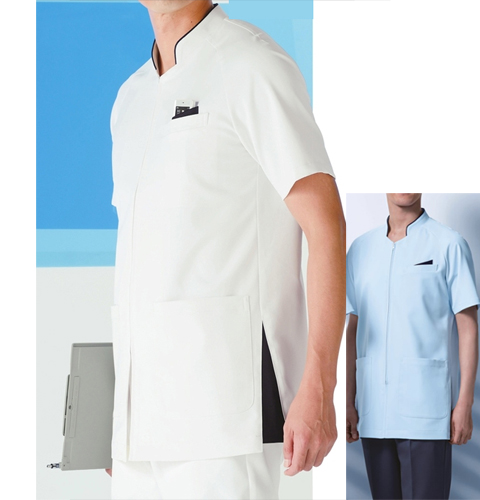 053 KAZENカゼン メンズジャケット 医療 白衣 半袖 ホワイト×ネイビー サックス×ネイビー