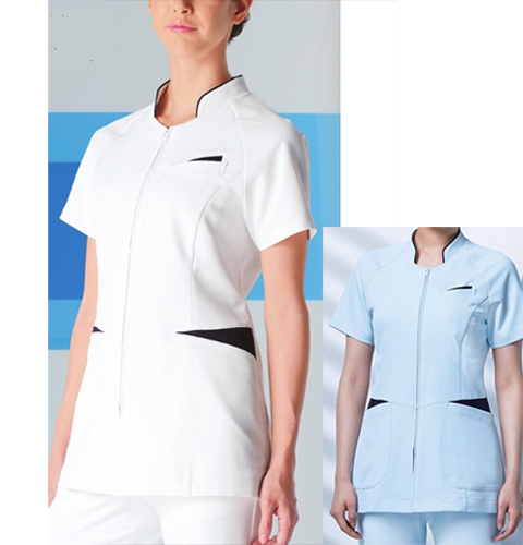 054 KAZENカゼン レディスジャケット 医療 白衣 半袖 ホワイト×ネイビー サックス×ネイビー