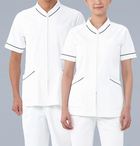 055 KAZENカゼン  スクラブ(男女兼用) 医療 ドクター 医師 ナース 看護師 ホワイト サックス ピンク