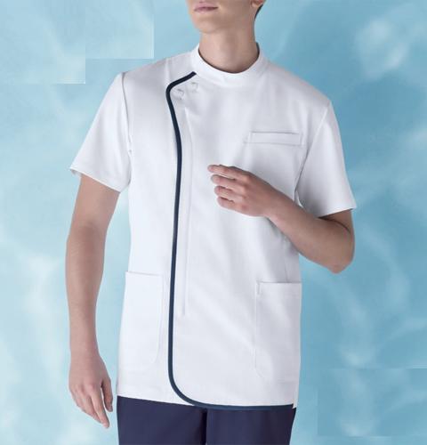 056 KAZENカゼン メンズジャケット半袖[医療 医師 ドクター 看護師 ナース 白衣 男性]