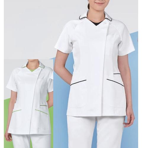 074 KAZENカゼン レディススクラブ 医療 白衣 半袖 ホワイト