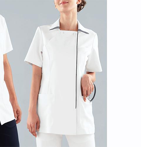 081 KAZENカゼン レディスジャケット半袖 [白衣 大きいサイズ 医療用 看護師 ナース レディース 女性用]