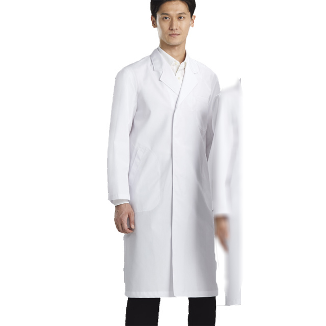 110 KAZENカゼン ポプリン メンズ 診察衣 シングル ボタン型 長袖 ホワイト サックス