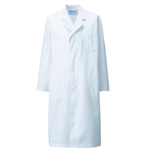 110-30 KAZENカゼン メンズ 診察衣 綿混 シングルボタン型 長袖 (白衣 ホワイト 白 男性用 男子用 実験衣 医療用 制菌)