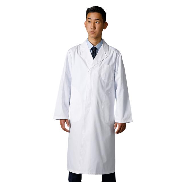 110C 即日出荷 綿100% 男性用 シングルボタン 診察衣 実験衣 コットン100 裾が引っかからない縫製(メンズ 男子 ドクターコート 医療用コート メンズコート 白衣 医療用白衣 医師用 ドクター 白 ホワイト