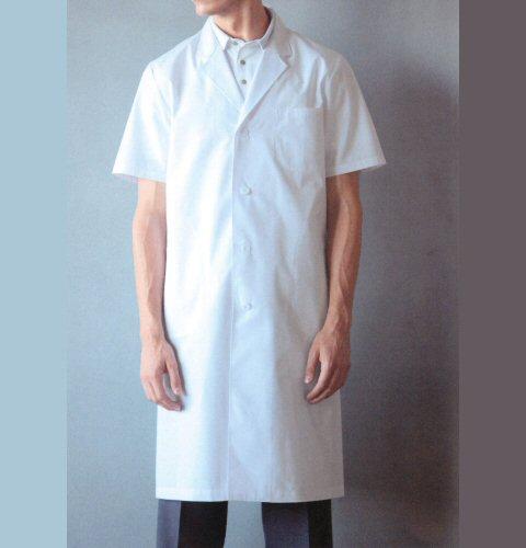 112-30 KAZENカゼン  ブロード メンズ診察衣シングル(半袖)