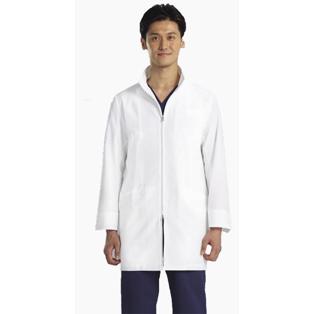 113-90 KAZENカゼン メンズハーフコート ジップアップ スタンドカラー シワになりにくい 診察衣