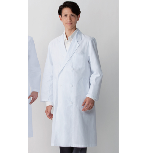 115-20 アプロン メンズ診察衣ダブル型 長袖 綿100%