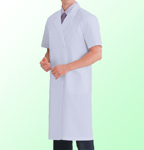 117-30 KAZENカゼン ブロード メンズ診察衣ダブルボタン型 半袖