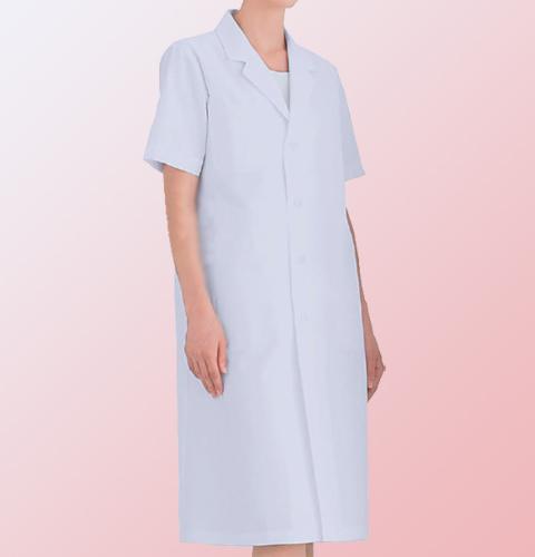 122-30 KAZEN カゼン ブロード レディス 診察衣 シングルボタン型 半袖