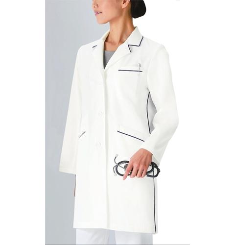 126 KAZENカゼン レディスコード診察衣 ハーフ丈 長袖 [白衣 医療用 医師用 ドクター 女性 大きいサイズ]