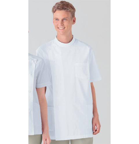 132-30 アプロン メンズ医務衣 半袖 ホワイト