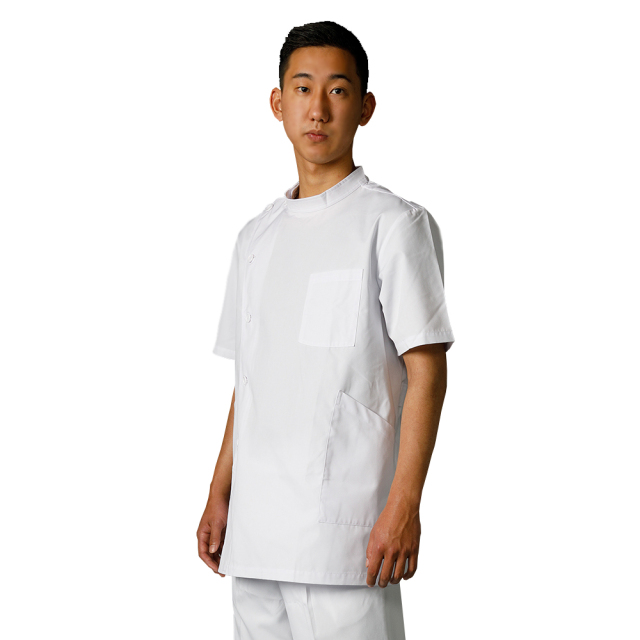 167T 即日出荷 白衣ネット ナースウェア ジャケット ケーシー 男性用  横掛 上衣 白衣 医務衣 メンズ  半袖 制菌 医療用 医師用 看護師 整骨院 ドクター メンズ 白無地 ホワイト