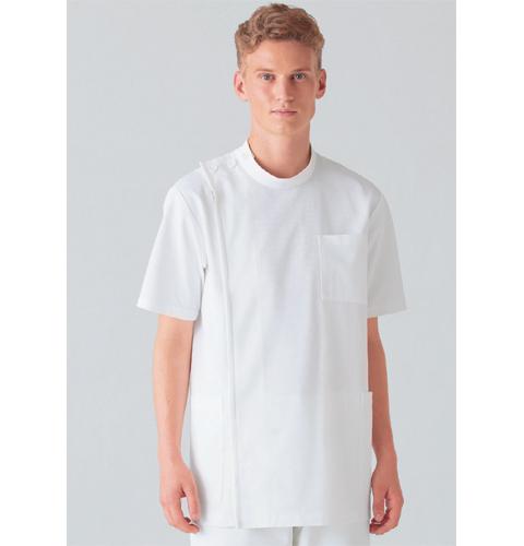 253-10 アプロン 医務衣 メンズ半袖 快適な作業性を追及したケーシースタイル