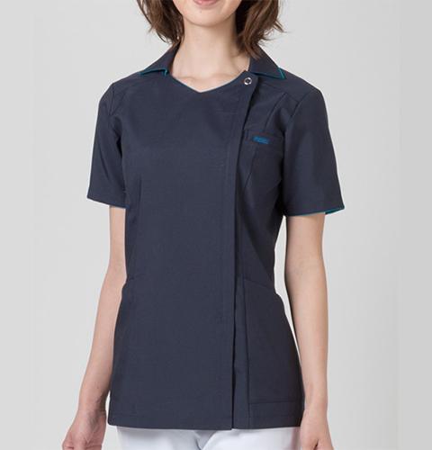 7024SC 着脱が楽 襟付き レディスジップスクラブ ジップアップタイプ 女子スクラブ フォーク製品
