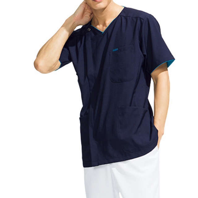 7028SC FOLK メンズジップスクラブ[白衣 ドクター ナースウェア 介護 男性 病院 医院 クリニック 前開き ファスナー]