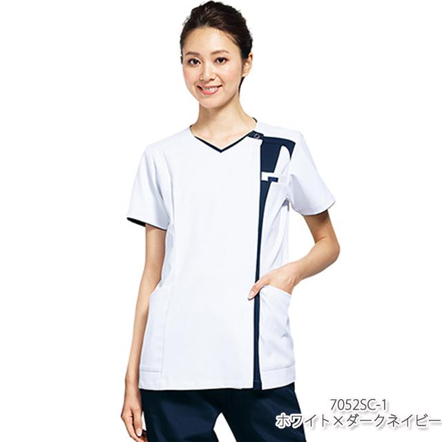7052SC フォーク製品 レディス ジップ スクラブ 女性用 白衣 医療用 看護師 ナース ホワイト
