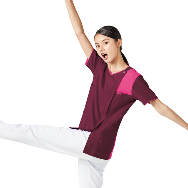 7057SC FOLK フォーク レディスジップスクラブ 着脱しやすい ジップアップタイプ 女性用 (白衣 医療用 看護師用 ナース ピンク ブルー ネイビー 通販 白衣ネット)