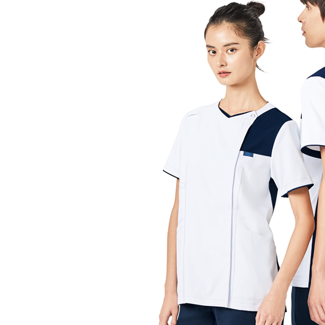 7059SC FOLK フォーク レディスジップスクラブ 着脱しやすい ジップアップタイプ 女性用 (白衣 医療用 看護師用 ナース ホワイト)