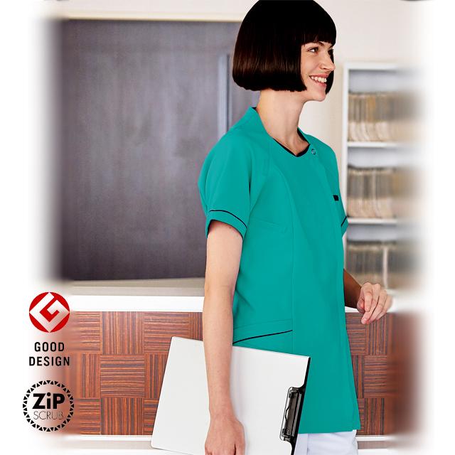 7064SC フォーク ドクターウェア ナースウェア レディス ジップ スクラブ 女性用 白衣 医療用 看護師 ナース サックス グリーン