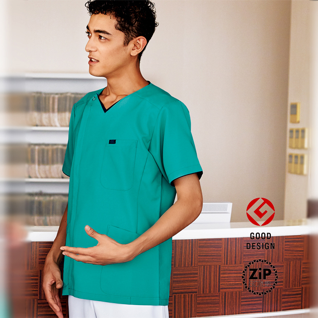 7065SC フォーク ドクターウェア ナースウェア メンズ ジップ スクラブ 男性用 医療用 看護師 ナース 介護 前開き 半袖 白衣