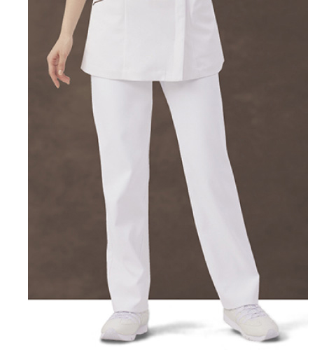 73-1161 ナースパンツ[やや細身 ノータック 両脇ゴム モンブラン 白衣 医療用 医師 看護師 女性用]