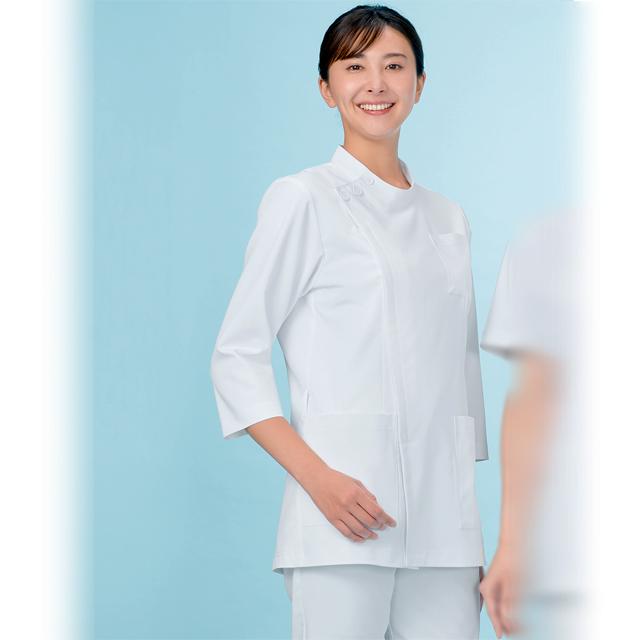 763 KAZEN カゼン ケーシー 横掛け ジャケット 七分袖 男女兼用 白衣 医療用 ドクター 男性 メンズ 女性 レディス 大きいサイズ