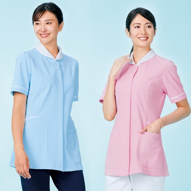 776 カゼン ナースウェア レディス ジャケット 半袖 女性用 医療用 看護師用 ナース ブルー ピンク 紺 ネイビー グリーン 4L 大きいサイズ 白衣 KAZEN