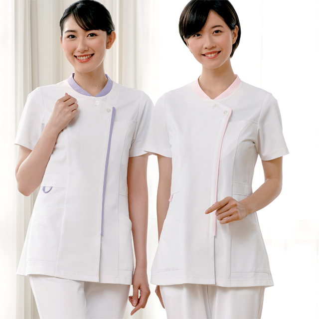 778 カゼン ナースウェア レディス ジャケット 半袖 女性用 医療用 看護師用 ナース ホワイト 白 4L 大きいサイズ 白衣 KAZEN
