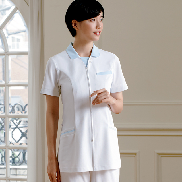 779 カゼン ナースウェア レディス ジャケット 半袖 女性用 医療用 看護師用 ナース ホワイト 白 4L 大きいサイズ 白衣 KAZEN