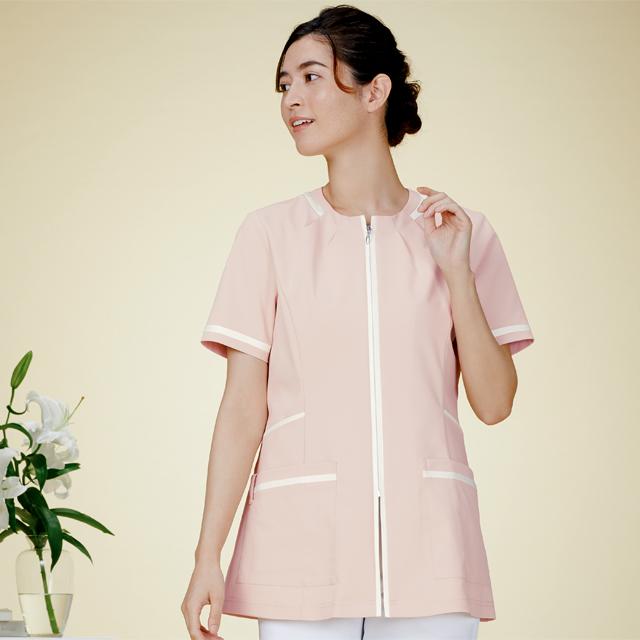 780 カゼン ナースウェア レディス ジャケット 半袖 女性用 医療用 看護師用 ナース ホワイト 白 ピンク ベージュ 紺 ネイビー 4L 大きいサイズ 白衣 KAZEN