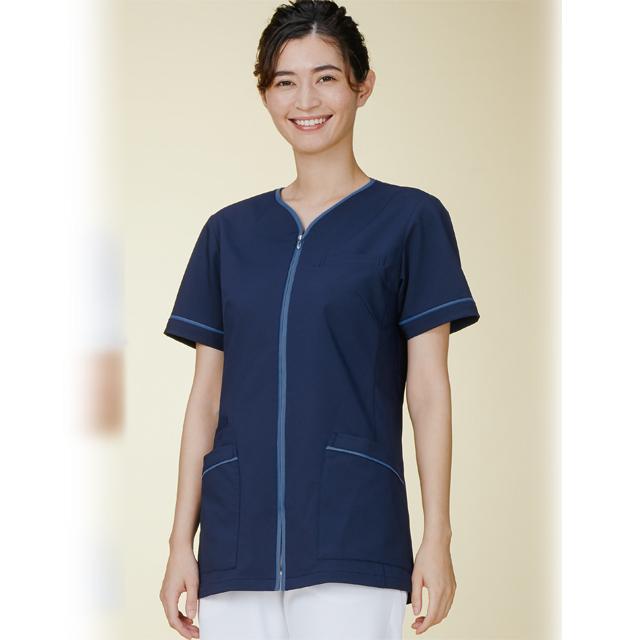782 カゼン ナースウェア レディス ジャケット 半袖 女性用 医療用 看護師用 ナース ホワイト 白 ピンク ベージュ 紺 ネイビー 4L 大きいサイズ 白衣 KAZEN