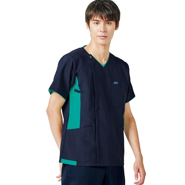 8503SCK フォーク ナースウェア 色移りしにくい カチオン染料使用 メンズ ジップ スクラブ 男性用 医療用 医師 ドクター 看護師 ナース 半袖