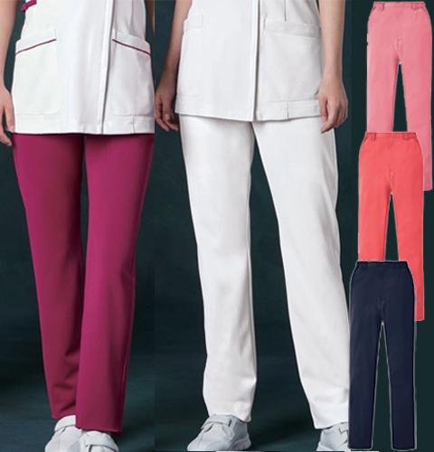 850 KAZENカゼン レディススラックス(スリムタイプ) [白衣 医療用 看護師 ナース 大きいサイズ対応 白 ピンク ネイビー]