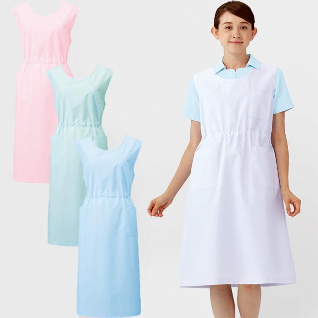924 カゼン ナースウェア エプロン 女性用 ウエスト調整可 KAZEN 医療用 看護師 介護 予防衣 袖なし 予防着 ケアガウン ホワイト 白 ブルー グリーン ピンク 大きいサイズ