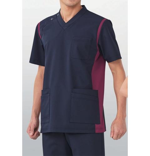 971 KAZENカゼン スクラブ(男女兼用) 医療 白衣 半袖 看護師 ナース ネイビー ワイン サックス