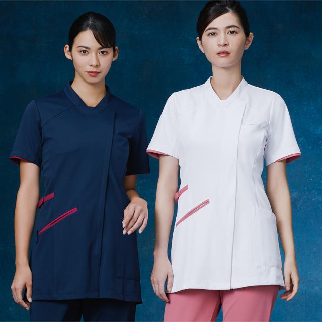 985 KAZENカゼン レディス チュニック ジャケット 医療 白衣 半袖 看護師 ホワイト ピンク ネイビー