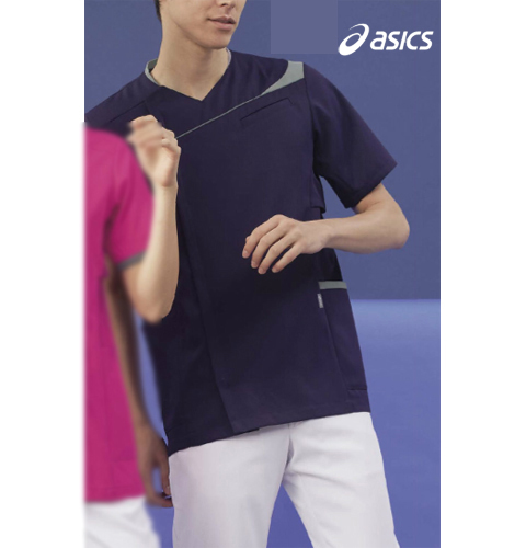 CHM854 asics メンズジャケット(半袖)[白衣 ナースウェア 看護師 介護 男性用 病院 医院 送料無料]