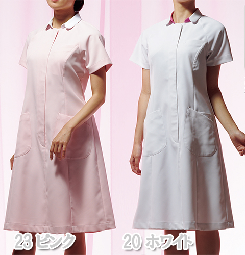 CIS600 アプロン レディス ナースワンピース 女性用 看護服 半袖 制菌 吸汗 防汚加工
