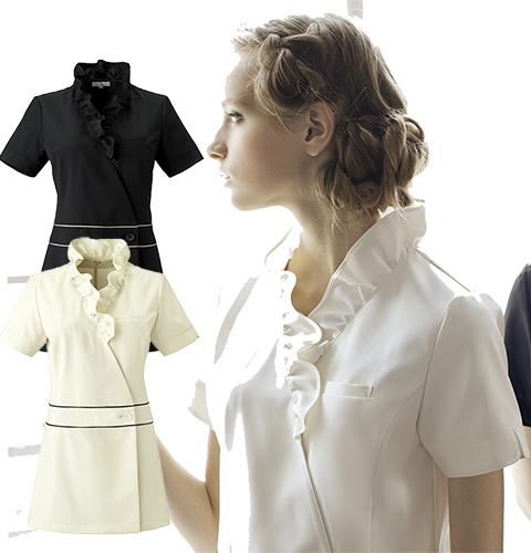 CL-0184 Calala 襟元のフリルがエレガント ビューティーウェア チュニック[エステ 白衣 サロン スパ ネイル 女性用 レディス]