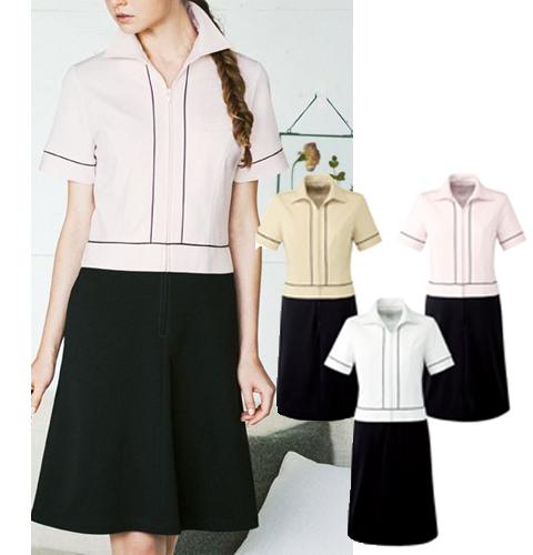 CL-0222 Calala(キャララ) 衿付きバイカラーワンピース[エステ サロン スパ クリニック 白衣 女性 レディス 受付]