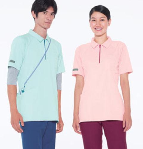 CX3117 ナガイレーベン ニットシャツ 男女兼用上衣  [介護 ケアウェア チュニック シャツ ユニフォーム 男女兼用]