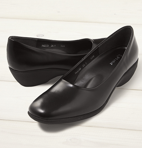 F-2123 長時間の立ち仕事でも疲れにくいパンプス(3cmヒール)[女性用 レディース フジゴム 富士ゴムナースシューズ  ブラック 黒  靴]