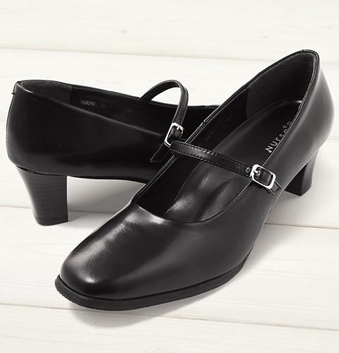 F-2200 長時間の立ち仕事でも疲れにくいパンプス(5cmヒール)[女性用 レディース フジゴム 富士ゴムナースシューズ ブラック 黒 靴]