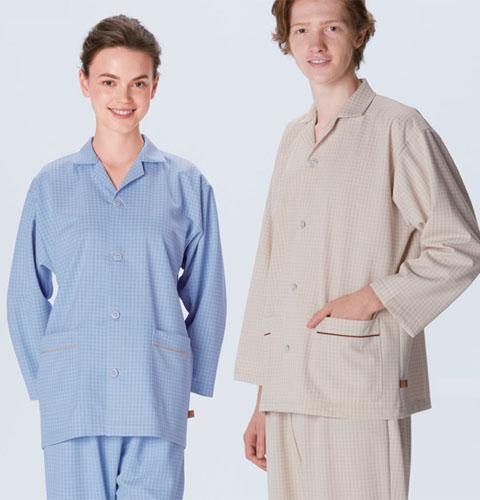 FG1516 ナガイレーベン 患者衣 パジャマ型 男女兼用[医療 病院 クリニック ニット ベージュ ブルー ]